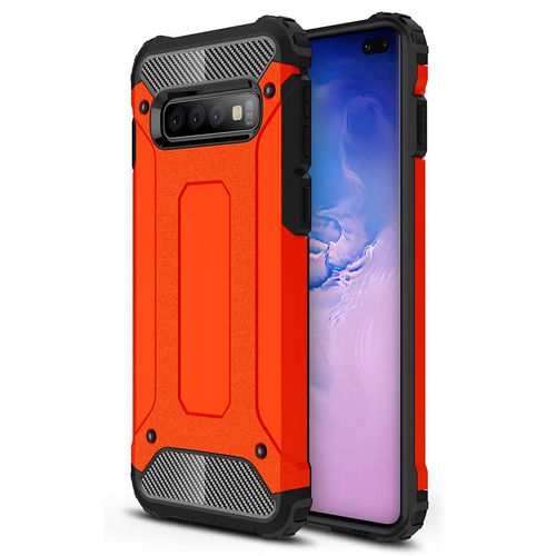 Military Defender Tough Shockproof Case for Samsung Galaxy S10+ (Red)